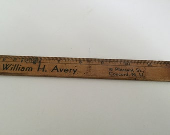 Vintage Wood Ruler  William H. Avery 18 Pleasant Street Concord NH Music Store
