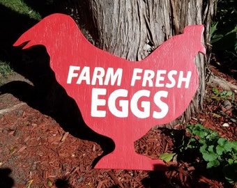 Farm Fresh Eggs Chicken Silhouette Cut Out Sign Exterior Wood Outdoor Sign