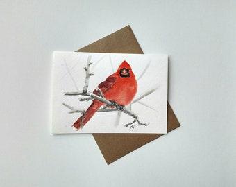 Red Cardinal Watercolor / Red Cardinal Card / Red Cardinal Art / Winter Snow Red Bird Painting.
