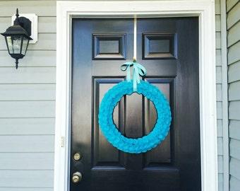 Turquoise Rose Wreath/ Turquoise Door Wreath/ Door Wreath/ Turquoise Home Decor/ Teal Rose Wreath/ Rose Door Wreath/ Flower Wreath