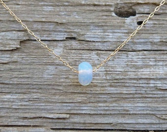 Moonstone Necklace, Floating Moonstone on Sterling Silver or 14k Solid or Yellow Gold Filled Chain, June Birthday Gift, June Birthstone