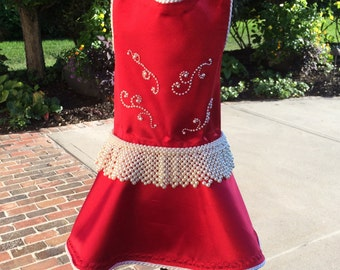 SAMPLE SALE:  Little Red Satin Dog Party Dress