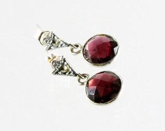 Garnet earrings, Sterling Silver, deep red gemstone earrings, petite fine dangle earrings, marcasite studs, January birthstone, gift for her