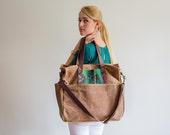 Waxed Canvas Diaper Bag Lorenzo Soft Brown