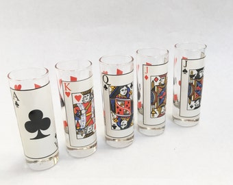 Vintage Shot Glass Playing Cards Shot Card Game Decor Elongated Shot Glass Collection Bar Ware Bar Cart Hostess
