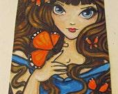 SALE Enchanted Butterfly Girl #1 big eyed fairy fantasy art original acrylic painting art trading card ACEO ATC