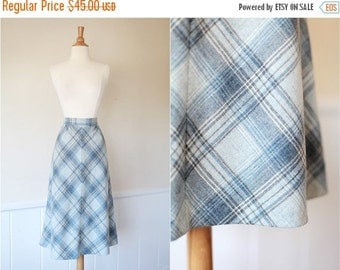50% OFF DOWNSIZING SALE Vintage 1960's 60s 1970's Blue Grey Plaid High Waisted Wool Skirt Medium M