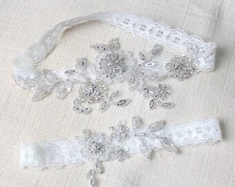 Silver garter set, wedding garter set, bridal garter set, blue lace garters, wedding garter, sequin garters