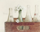Rustic Kitchen Art, Country Farmhouse Decor, Flower Photography, Wall Art, Soda Bottle Print | 'Mountain Cola'
