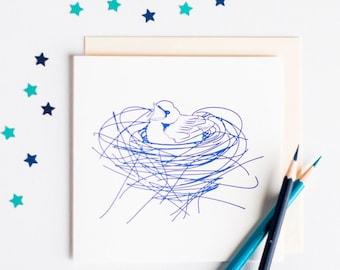 Letterpress Nest Card - Letterpress Greetings Card - New Baby Card - New Home Card - Blank Greetings Card - Card for Baby Boy - Bird Card