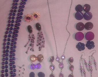 Clearance Sale  Lot of Vintage Purple Colored Jewelry For Wear Repair or Crafting