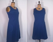 1960s mod blue scooter dress • 60s cobalt day dress with oversized pockets • vintage shadow of your smile dress