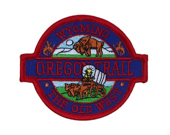 "Historic ""Wyoming Oregon Trail"" Patch Old West Travel Souvenir Iron-On Applique"