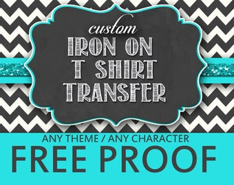 Custom iron on transfer etsy for Free t shirt transfer templates