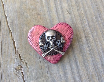 Jolly Roger Heart Pin