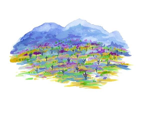 Desert Mountains in Blue Archival Print // Desert Art // Landscape Art // Desert Illustration // Cactus Art // Plant Art // Abstract Art