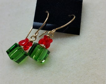 Green and red Christmas present earrings with gold filled earwires