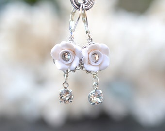 Annamarie White Rose Bridal Earrings, White Rose and Swarovski crystals Earrings, White Flower earrings.
