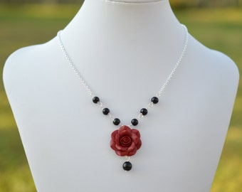 Red Garnet Rose and Pearls Centered Necklace. Deep Red Rose Necklace. Fall Rose Jewelry