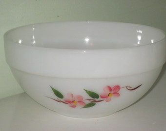 Vintage Fire King Peach Blossom Colonial Band Mixing Bowl Hand Painted Serving Bowl