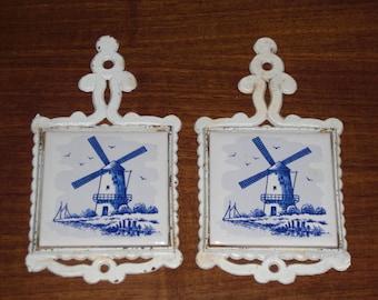 Pair Vintage Dutch Windmill Tile Trivets