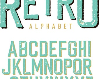 SVG Silhouette DXF distressed retro alphabet for printing, graphic tshirt design files