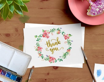Watercolor Floral Wreath and Gold Foil Thank You Cards - Set of 12