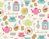 Chintzy tea sets / Makower Tea Party / patchwork quilting fabric / fat quarter