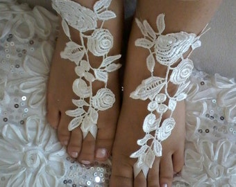 Wedding Shoes, Ivory Sandals, bridal accessories, barefoot sandles, Beach Clothing, Handmade Gifts