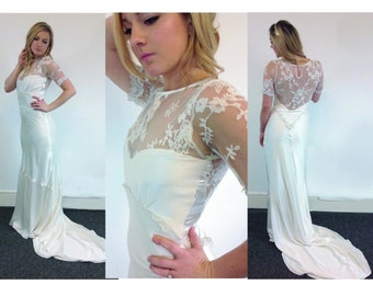 Made-to-order 1930s style silk satin bias cut wedding dress lace back