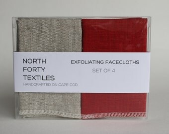 Linen Facecloth Set Any Color 8x8 washcloth set natural linen face wash