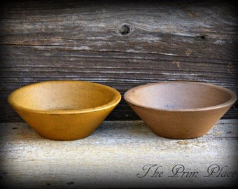 Primitive Handpainted Grubby Wooden Bowls-2 pc set