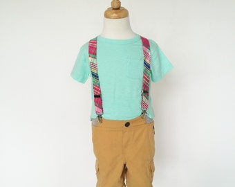 Hot Pink, Mint and Blue Plaid Suspenders