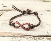 Boho Infinity Bracelet, Leather Bracelet B056