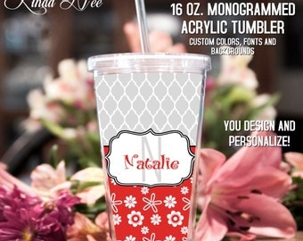 Monogrammed Acrylic Tumbler, Personalized Cup, Monogrammed Acrylic Cup with Straw, Monogram Gift, Personalized Gift, Bridesmaid Gift TM1