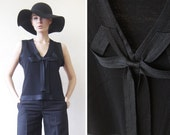 KENZO vintage black silk wool cashmere shiny bow trim deep V neck evening sleeveless tank top blouse XL