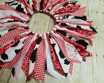 Infant through Child Sizes - Red Farm Girl Chic Scrap Tutu - Red Bandana, Gingham, Lace, Cow Print  - Made to Order - Cowgirl Birthday