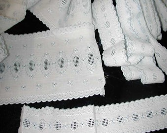No. 100 Antique French Blue/White Broderie Anglaise Edging & Trim Lace