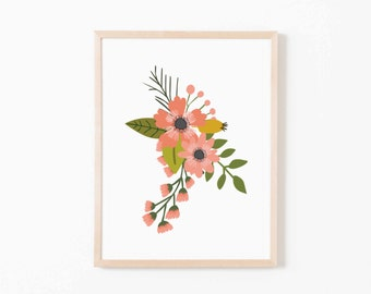 Coral Sprigs Single II Nursery Art. Nursery Wall Art. Nursery Prints. Nursery Decor. Girl Wall Art. Floral Wall Art. Instant Download.