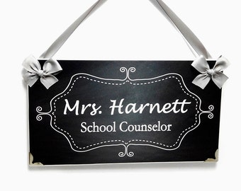 custom school counselor name office door sign - grey chalkboard inspired white flourish frame plaque - PL200