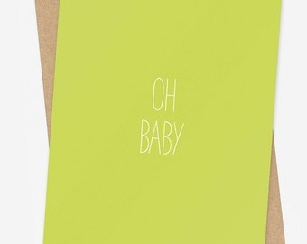 New Baby Card, Neutral Baby Gift Card, Baby Shower Card for Girl or Boy, New Parent Card, Pastel Green New Baby Card, Congratulations Card
