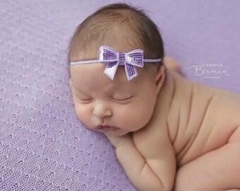 LAVENDER SEQUIN BOW Headband, Skinny Headband, Baby Headband, Newborn Headband, Newborn Photo Prop, Infant Headbands, Small Bow Headband