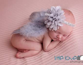 SILVER NEWBORN Feather Wings, Newborn Wings with Headband, Silver Angel Wings, Newborn Photo Prop, Newborn baby wings, Baby Girl Photo Prop