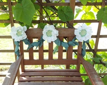 Felt flower vine - greenery garland, floral garland, white peony sage leaves, textile flowers, peony wedding decor, white peony flower