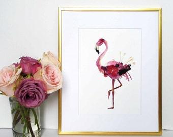 Flamingo Print Pressed flower art Bird prints Dried flowers Wall art Botanical prints dried flowers flamingos wall art birds collage artwork