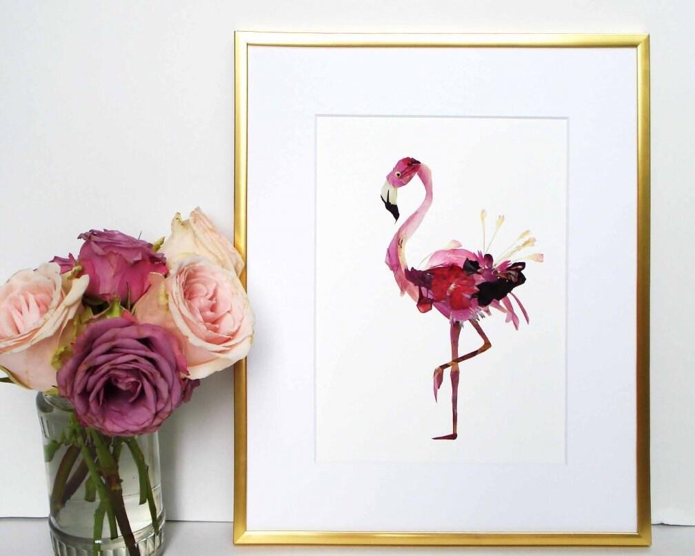 Flamingo imprimir presiona secas arte flor que pájaro imprime
