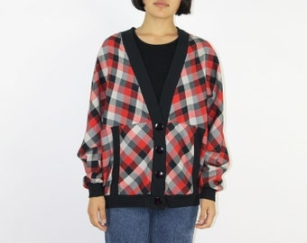 Plaid Cardigan - V Neck Collar RED BLACK Checked Big Buttons Ribbed Hems Light Jacket Fall Woodland School Girl Cardi Sweater Layering Grey