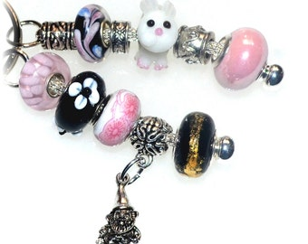 Beaded Key Ring in Pink & Black with Bunny and Garden Troll