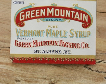 Early Vintage 1950s Sugar & Maple Syrup Tin Can PAPER LABEL Green Mountain Packing Co. St Albans, VT Very Rare
