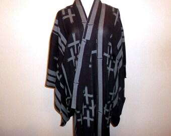 Antique summer kimono - Bamboo tree and cross, Stiff silk, Summery unlined